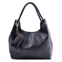 Shoulder Bag Messenger Women Korean Check Synthetic Leather Handbag Purse isfang