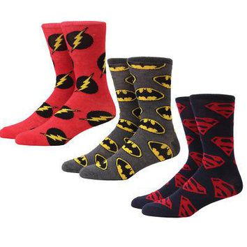DC Comics Superman Batman The Flash Logo Adult Unisex Crew Socks - 3-Pack