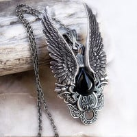 Angel Wing Necklace Womens Mens Gothic Jewelry