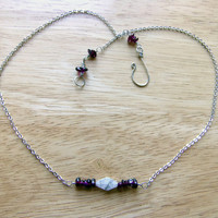 Quartz Crystal Necklace, Delicate Silver Chain Necklace, Birthstone Necklace for Mom, Red Stone Garnet Necklace, Dainty Crystal Necklace
