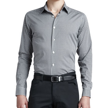 Gingham Sport Shirt, Black, Size: