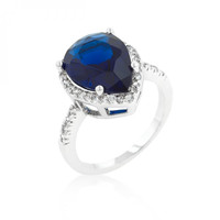 Sapphire Cubic Zirconia Drop Ring (size: 05)