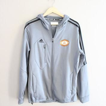 US Free Shipping Adidas Zip Up Hoodie Gray Fleece Jacket Activewear Vintage Minimalist