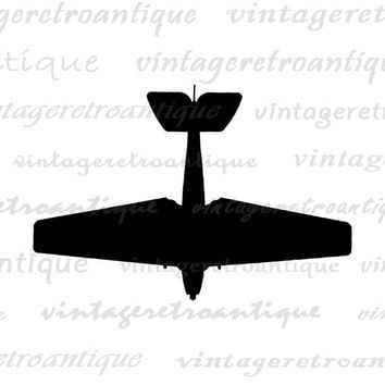 Printable Digital Airplane Silhouette Download Plane Clip Art Antique Airplane Image Graphic for Transfers Tea Towels etc HQ 300dpi No.4650