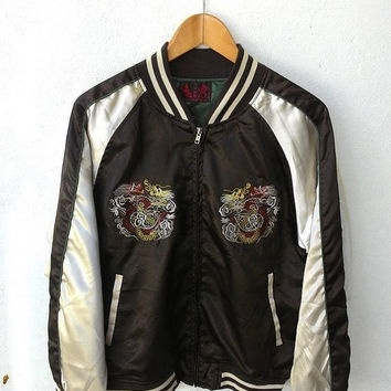 CRAZY SALE 25% Vintage Sukajan 80's Dragon Fight Emboidered Souvenirs Reversible Brown Satin Varsity Jacket Size L