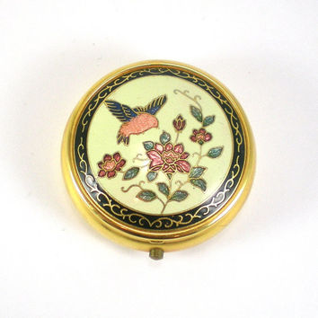 Vintage Cloisonne Pill Box Accessory For Women White Cream  Floral Bird Enamel Design