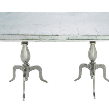 Rustic Aluminum Dinner Table with Double Pedestal Stand