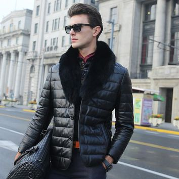Mooistar #W003 Fashion Men Warm Thickening Leather Coat Jacket Faux Fur Parka Outwear Cardigan