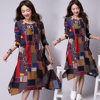 Plaid Print Midi Plus Size Dress with Pockets