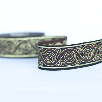 Woven ribbon, 33 mm Jacquard ribbon, Embroidered ribbon, brown black gold Sewing trim, Scroll Jacquard trim,  Woven Border