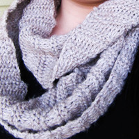 Oatmeal knitted infinity scarf, women winter cowl scarf, circle scarf, winter accessories, women clothing, teen clothing, handmade