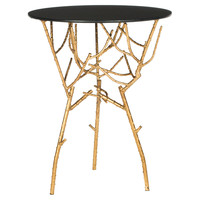 Easton Side Table, Gold/Black Glass, Standard Side Tables