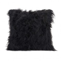 Wake Up Frankie - Black Faux Fur Accent Pillow : Teen Bedding, Pink Bedding, Dorm Bedding, Teen Comforters
