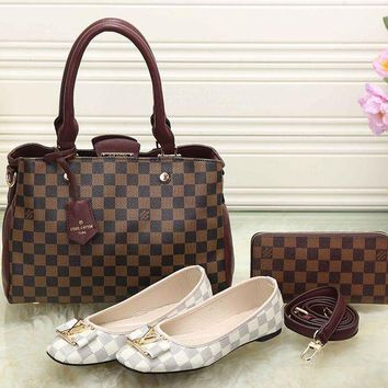 LV Women New Fashion Leather Tote Satchel Shoulder Bag Handbag Shoes Wallet Three Piece Suit
