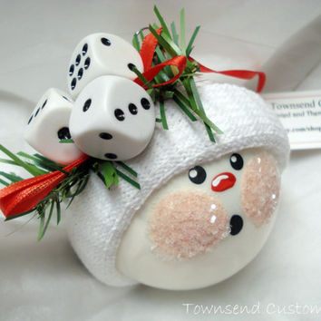 Bunco Dice Snowman Ornament Christmas Tree Bulb -  Hand Painted Glass -  Snowball face - Themed with 3 Dice - Personalized
