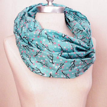 Spring Scarf, Cherry Blossom Floral Print Fabric, Aqua, Pink, White Cotton Infinity Loop