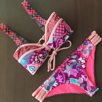 Ladies Bikini Bandages Floral Pink Butterfly Swimwear Tankini [4970317380]