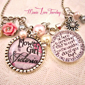Flower Girl Necklace, Personalized Flower Girl Necklace, Wedding Gift, Necklace, Wedding Flower Girl Necklace, Flower Girl Jewelry