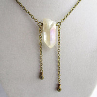 Raw Clear Quartz Crystal Point & Dangling Bronze Bead Long Boho Hipster Layering Necklace