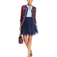 Tommy Hilfiger Plaid Cardigan, Chambray-Trim Shirt & Pleated A-Line Skirt