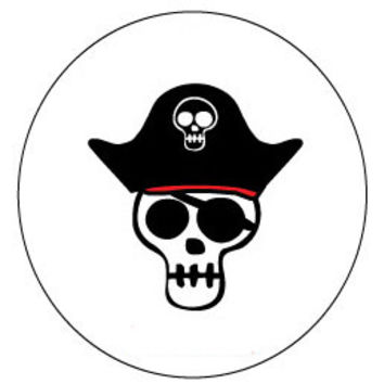 60 High Gloss Pirate Skull Stickers, 1.5 inch