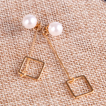 Golden Faux Pearl Embellished Geo Drop Earrings