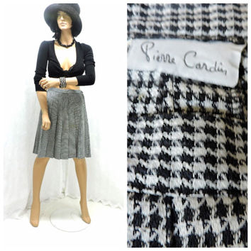 Vintage 70s Pierre Cardin pleated houndstooth skirt size 6 / 7  school girl skirt 1970s high wasited designer skirt  SunnyBohoVintage