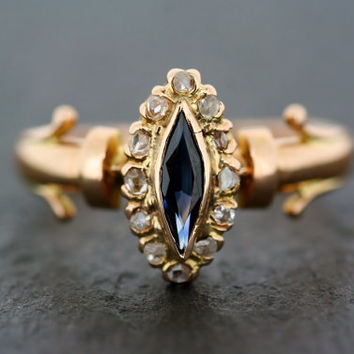 Antique Sapphire Ring - Victorian Sapphire & Diamond Marquise-Shape Cluster Ring