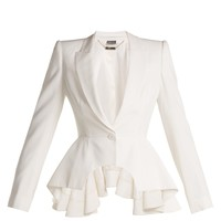 Waterfall peplum crepe blazer | Alexander McQueen | MATCHESFASHION.COM UK
