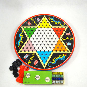 Vintage Chinese Checkers Tin with Original Game Pieces by Ohio Art Company