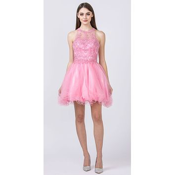 Halter Beaded Homecoming Short Dress Pink