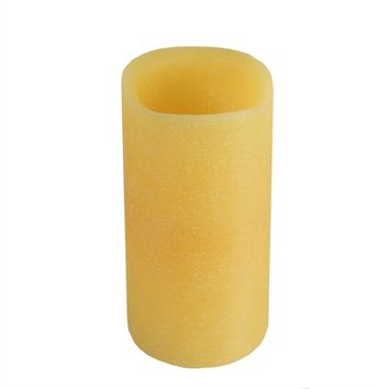 "6"" Golden Amber Battery Operated Flameless LED Wax Christmas Pillar Candle"
