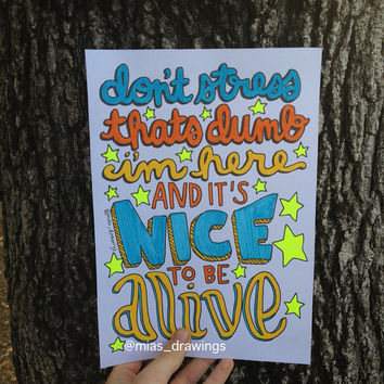 Ball Park Music  it's nice to be alive lyric art by Miasdrawings
