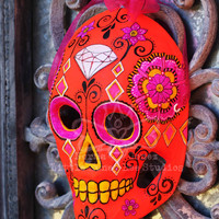 Diamond Head Dia De Los Muertos Mask - Neon Sugar Skull Mask - Hand Painted Sugar Skull Mask - Mexican Folk Art - Halloween Mask - Skeleton