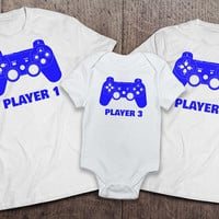 Player 1 Player 2 Player 3 Matching Onesuit and T-Shirt Sets - White