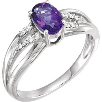 14K White Gold Oval Amethyst & .08 CTW Diamond Ring