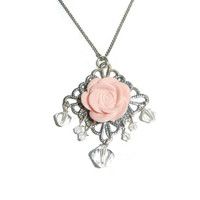 Light Pink Floral Crystal Dangle Charm Necklace, Valentine Necklace