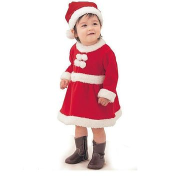 2pcs Christmas Baby Girl Clothes Set Infant Santa Claus Costume Dress + Hat Clothing Set Baby Newborn bebe Clothes for New Year