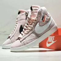 NIKE Blazer Mid Rebel Women Fashion New White Black Hook High Top Zipper Leisure Shoes Pink