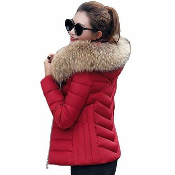 Female Coat With Faux Fur Collar Hooded Cotton Padded Coat
