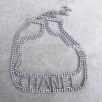 Chanel custom elegant small fragrance style full of drill collar collarbone chain short neck necklace neck chain