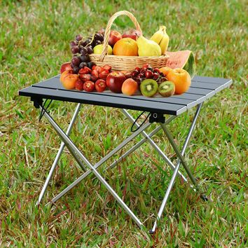 Outlife Outdoor Folding Table Camping Table Desk Lightweight Mini Aluminum Alloy Picnic Table for Hiking Camping BBQ Picnic