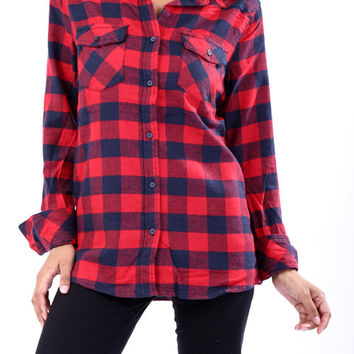 Red & Navy Plaid Plaid Flannel Button Up w/ Suede Elbow Patches