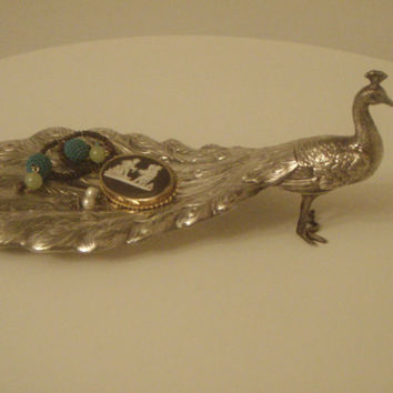 Vintage Silver Figural Peacock  Dish by Purana on Etsy