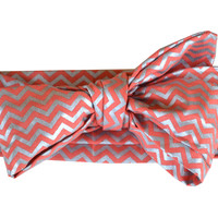 Coral Metallic Chevron Long Head Wrap