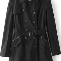 Black Lapel Long Sleeve Double Breasted Trench Coat