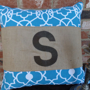 "Burlap Pillow Wrap  for a 16"" or 18"" pilow with a single large block initial"