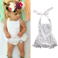 Cute Newborn Kids Baby Girls Clothes Infant Lace Ruffled Rompers Jumpsuit Outfits Sunsuit 0-24M
