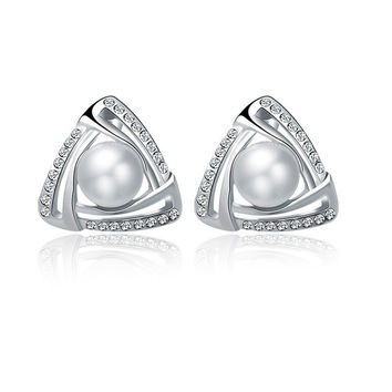 Silver Triangle Earrings with Rhinestones and Bead