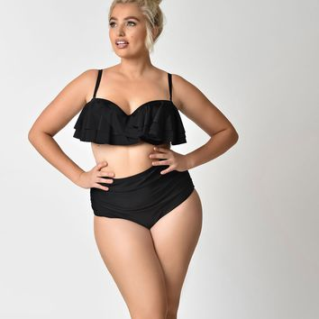 Unique Vintage Plus Size Solid Black Georgiana High Waist Swim Bottoms